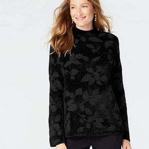 J.Jill Jacquard-Leaves Chenille Pullover Sweater